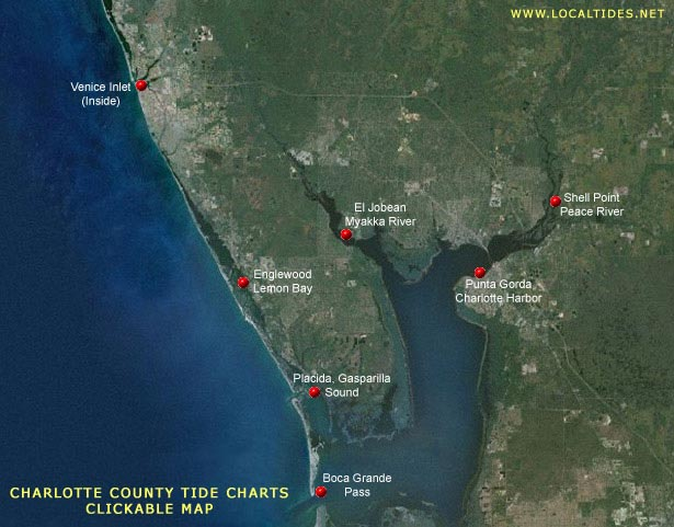Charlotte County Tide Charts - Clickable Map