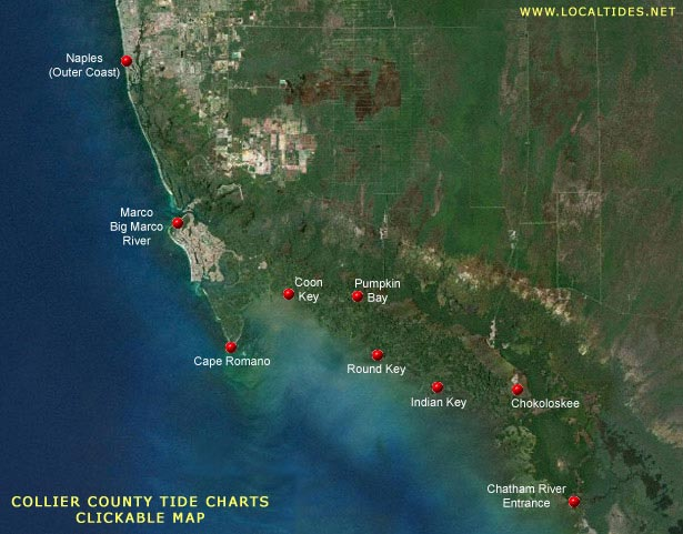 Collier County Tide Charts - Clickable Map